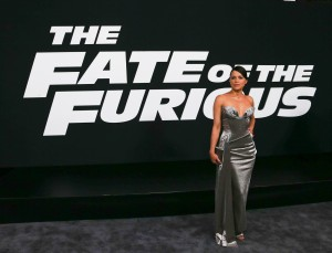 "NEW YORK-APR 8: Actress Michelle Rodriguez attends the premiere of ""The Fate of the Furious"" at Radio City Music Hall on April 8, 2017 in New York City."