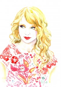 Hand painted Watercolor Illustration Taylor Swift, American singer