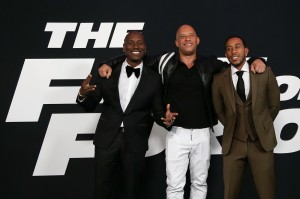 "NEW YORK-APR 8: (L-R) Actors Tyrese Gibson, Vin Diesel and Christopher 'Ludacris' Bridges attend the premiere of ""The Fate of the Furious"" at Radio City Music Hall on April 8, 2017 in New York City."